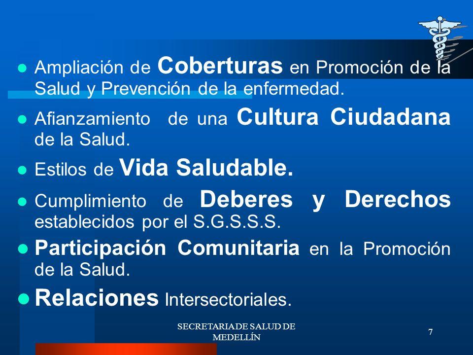 SECRETARIA DE SALUD DE MEDELLÍN 8 Promoción de la Salud y Prevención de la Enfermedad.