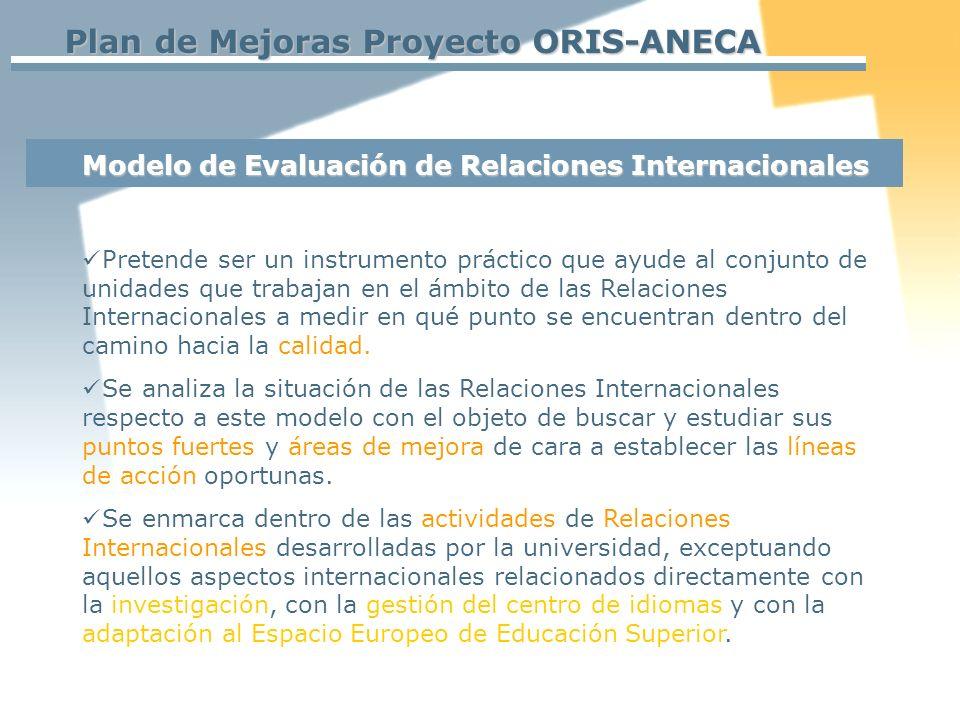 Plan de Mejoras Proyecto ORIS-ANECA Pretende ser un instrumento práctico que ayude al conjunto de unidades que trabajan en el ámbito de las Relaciones Internacionales a medir en qué punto se encuentran dentro del camino hacia la calidad.