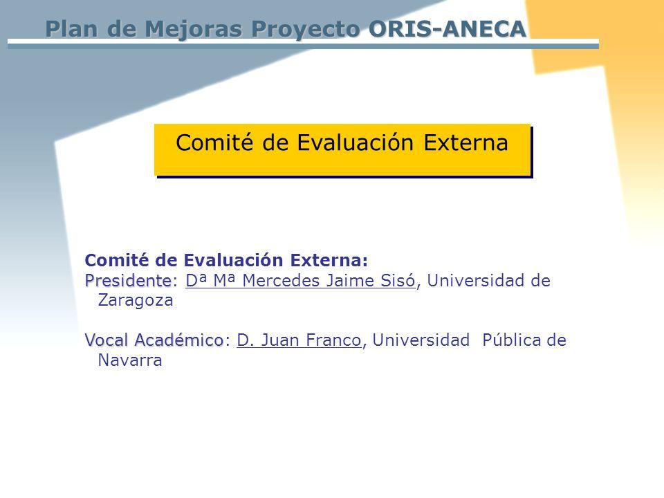 Plan de Mejoras Proyecto ORIS-ANECA Comité de Evaluación Externa: Presidente Presidente: Dª Mª Mercedes Jaime Sisó, Universidad de Zaragoza Vocal Académico Vocal Académico: D.
