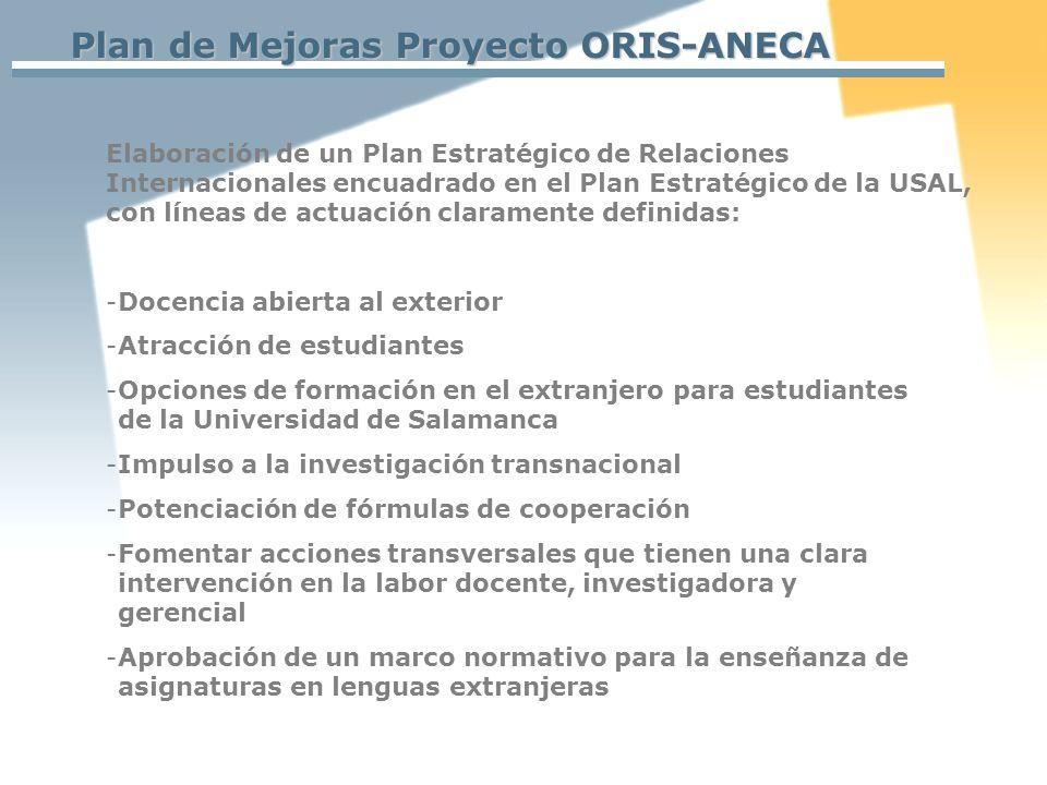Plan de Mejoras Proyecto ORIS-ANECA Elaboración de un Plan Estratégico de Relaciones Internacionales encuadrado en el Plan Estratégico de la USAL, con líneas de actuación claramente definidas: -Docencia abierta al exterior -Atracción de estudiantes -Opciones de formación en el extranjero para estudiantes de la Universidad de Salamanca -Impulso a la investigación transnacional -Potenciación de fórmulas de cooperación -Fomentar acciones transversales que tienen una clara intervención en la labor docente, investigadora y gerencial -Aprobación de un marco normativo para la enseñanza de asignaturas en lenguas extranjeras