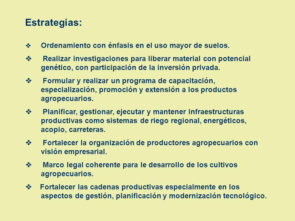 OBJETIVO: Desarrollar productos agropecuarios y forestales apropiados a la Región San Martín de manera sostenible, con miras a un aprovechamiento agro