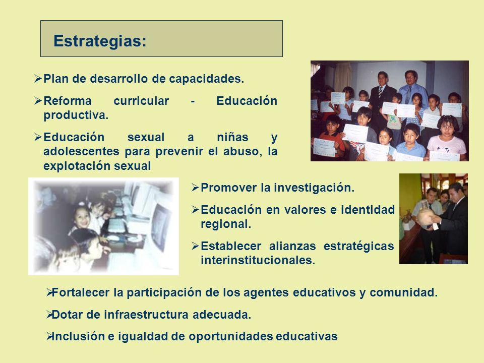 Educación Objetivo : Impulsar una educación integral, descentralizada y de calidad para todos (as) OBJETIVOS Y ESTRATEGIAS