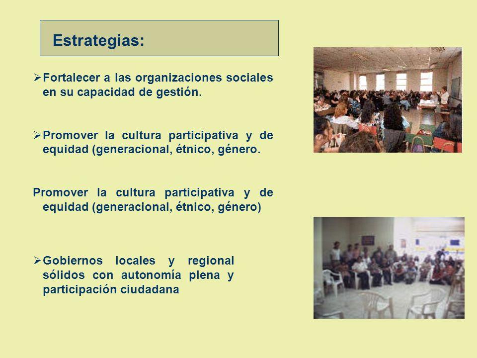 Organización, Institucionalidad, Gestión Participativa Objetivo :Existen espacios y niveles de participación y concertación regional, articulados a lo