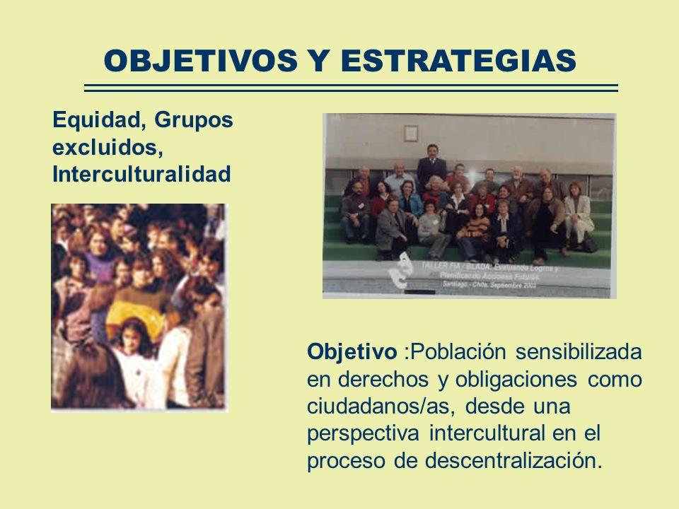 Fortalecer a las organizaciones sociales en su capacidad de gestión. Promover la cultura participativa y de equidad (generacional, étnico, género. Pro