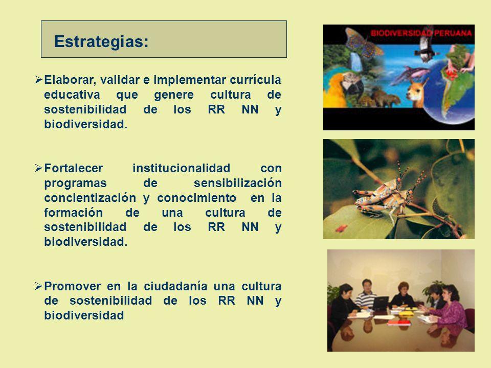 Objetivo : Población con actitudes y aptitudes desarrolladas conservan, defienden y usan sosteniblemente los RR NN con enfoque participativo y ordenam