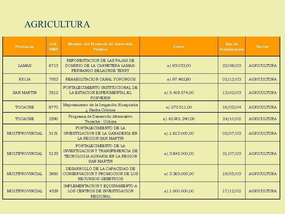 PROYECTOS DE INVERSION PUBLICA EN CARTERA