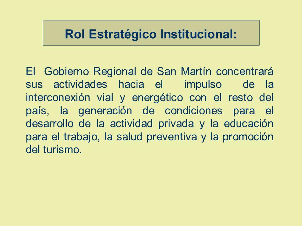 Rol Estratégico Institucional: El Gobierno Regional de San Martín concentrará sus actividades hacia el impulso de la interconexión vial y energético con el resto del país, la generación de condiciones para el desarrollo de la actividad privada y la educación para el trabajo, la salud preventiva y la promoción del turismo.