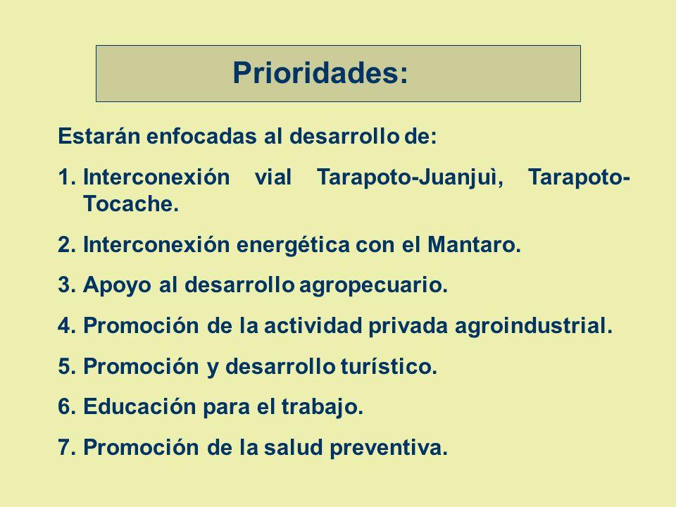 Estarán enfocadas al desarrollo de: 1.Interconexión vial Tarapoto-Juanjuì, Tarapoto- Tocache.