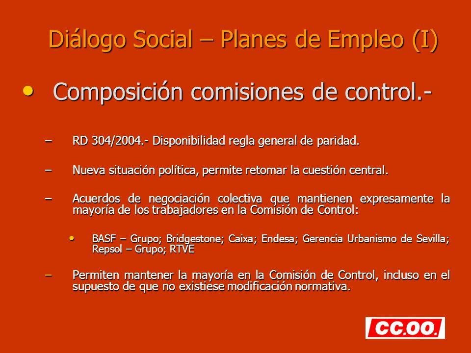 Diálogo Social – Planes de Empleo (I) Composición comisiones de control.- Composición comisiones de control.- –RD 304/2004.- Disponibilidad regla general de paridad.