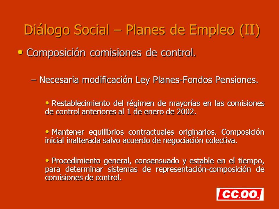 Diálogo Social – Planes de Empleo (II) Composición comisiones de control. Composición comisiones de control. – Necesaria modificación Ley Planes-Fondo