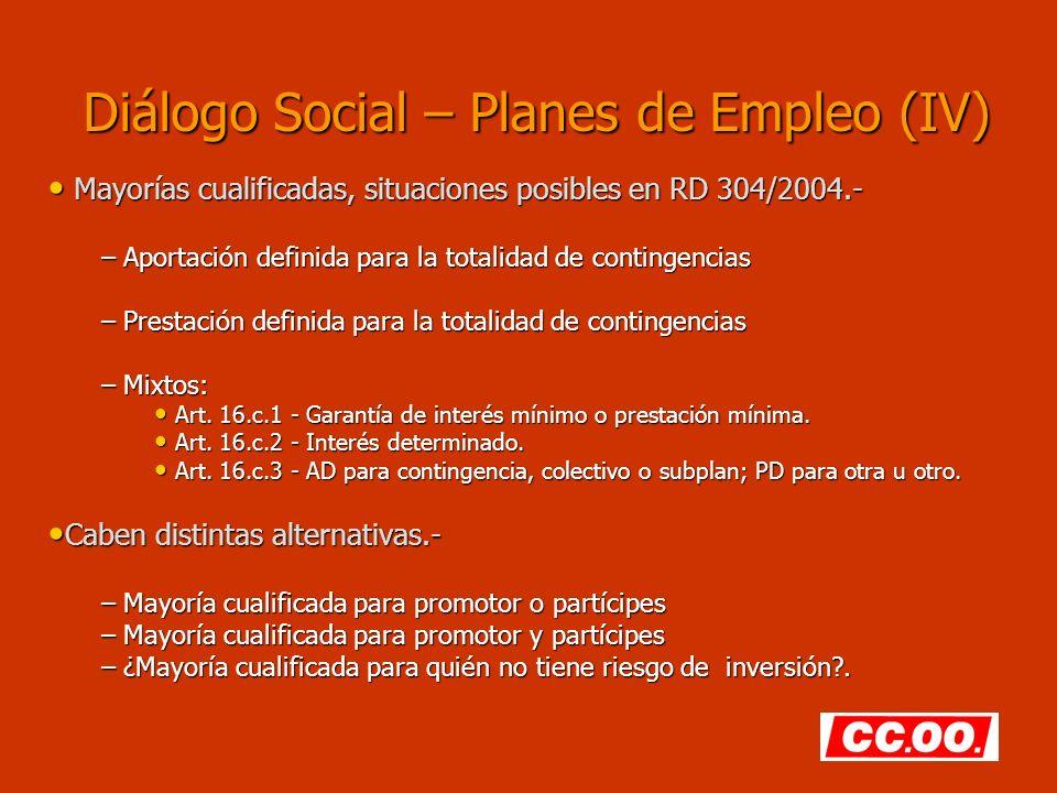 Diálogo Social – Planes de Empleo (IV) Mayorías cualificadas, situaciones posibles en RD 304/2004.- Mayorías cualificadas, situaciones posibles en RD