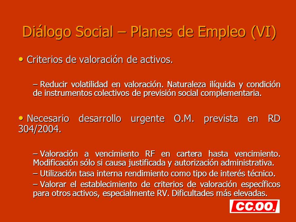 Diálogo Social – Planes de Empleo (VI) Criterios de valoración de activos. Criterios de valoración de activos. – Reducir volatilidad en valoración. Na