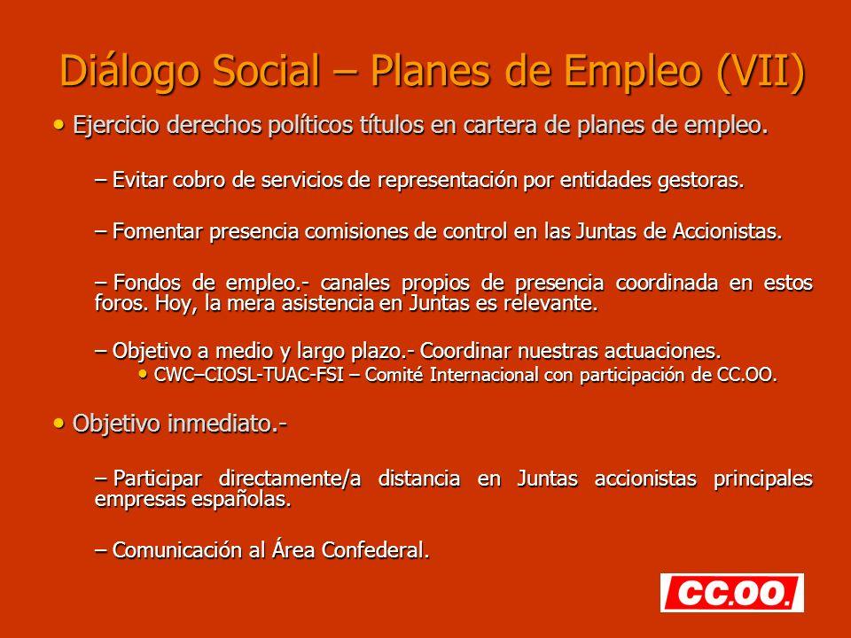Diálogo Social – Planes de Empleo (VII) Ejercicio derechos políticos títulos en cartera de planes de empleo. Ejercicio derechos políticos títulos en c