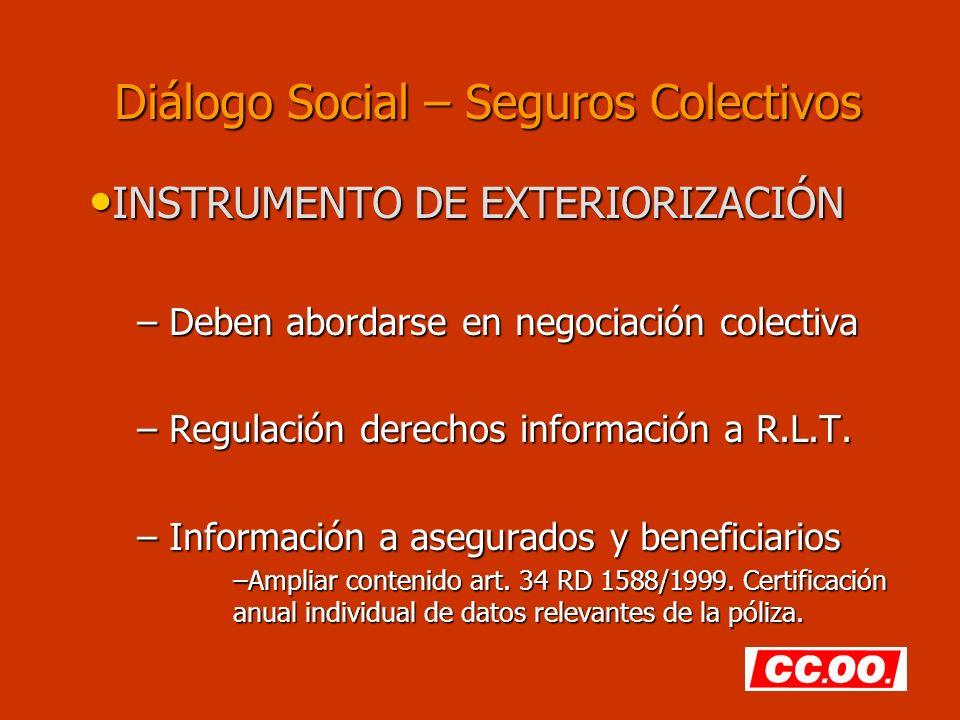 Diálogo Social – Seguros Colectivos INSTRUMENTO DE EXTERIORIZACIÓN INSTRUMENTO DE EXTERIORIZACIÓN – Deben abordarse en negociación colectiva – Regulación derechos información a R.L.T.