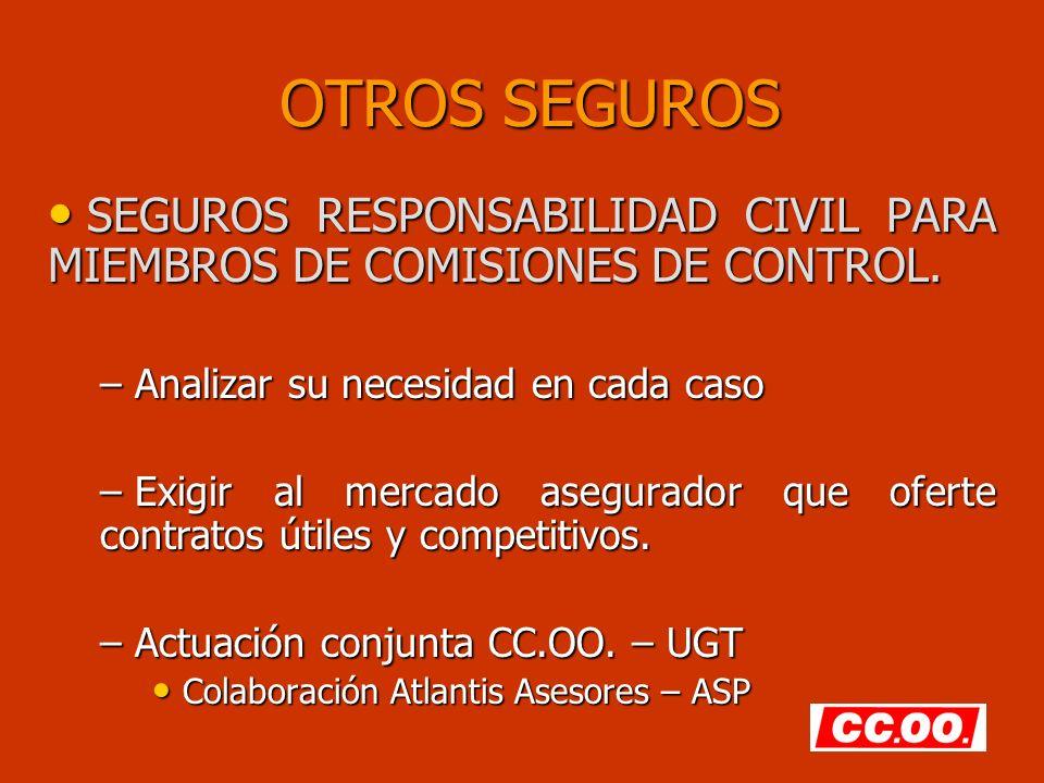 OTROS SEGUROS SEGUROS RESPONSABILIDAD CIVIL PARA MIEMBROS DE COMISIONES DE CONTROL. SEGUROS RESPONSABILIDAD CIVIL PARA MIEMBROS DE COMISIONES DE CONTR