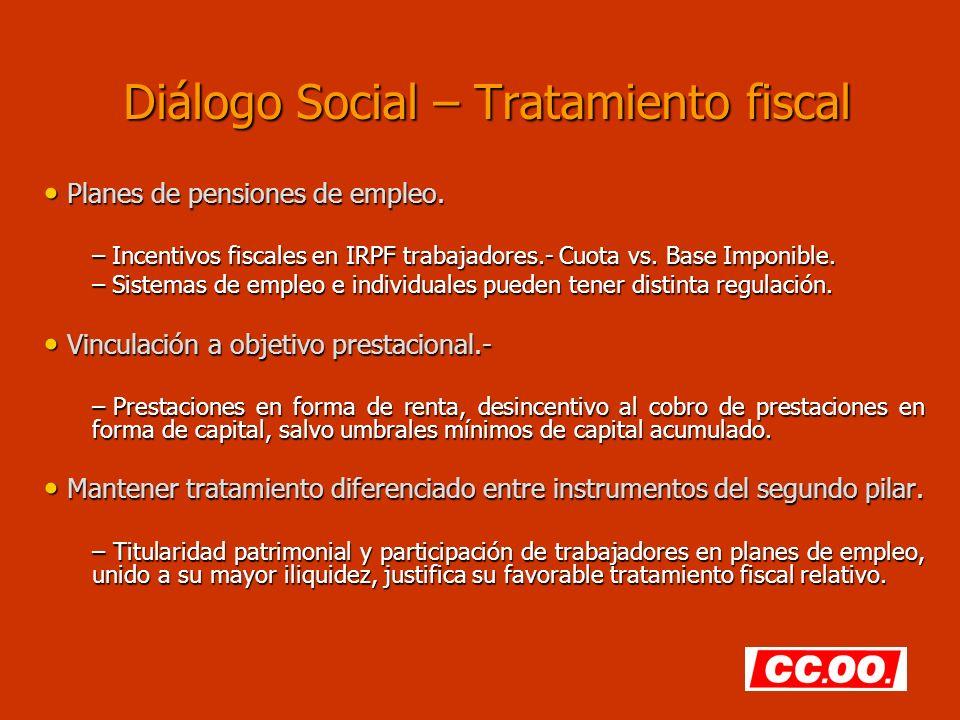 Diálogo Social – Tratamiento fiscal Planes de pensiones de empleo. Planes de pensiones de empleo. – Incentivos fiscales en IRPF trabajadores.- Cuota v