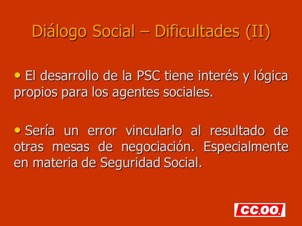 Diálogo Social – Dificultades (II) El desarrollo de la PSC tiene interés y lógica propios para los agentes sociales. El desarrollo de la PSC tiene int