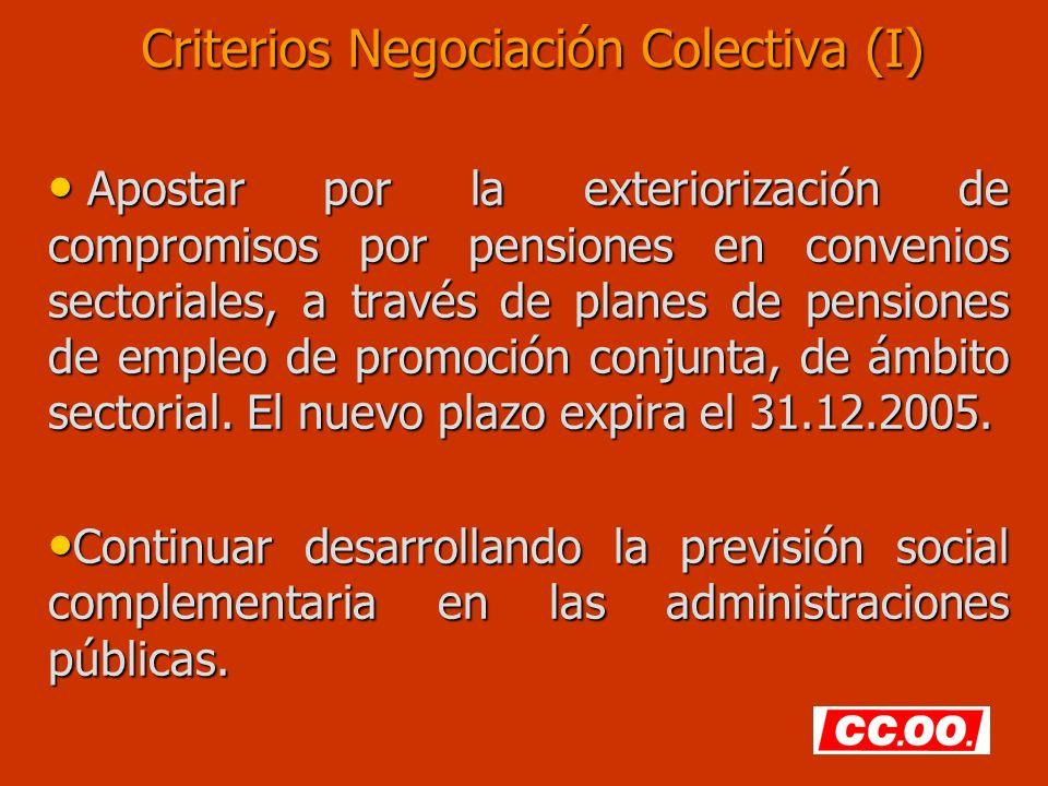 Criterios Negociación Colectiva (I) Apostar por la exteriorización de compromisos por pensiones en convenios sectoriales, a través de planes de pensiones de empleo de promoción conjunta, de ámbito sectorial.