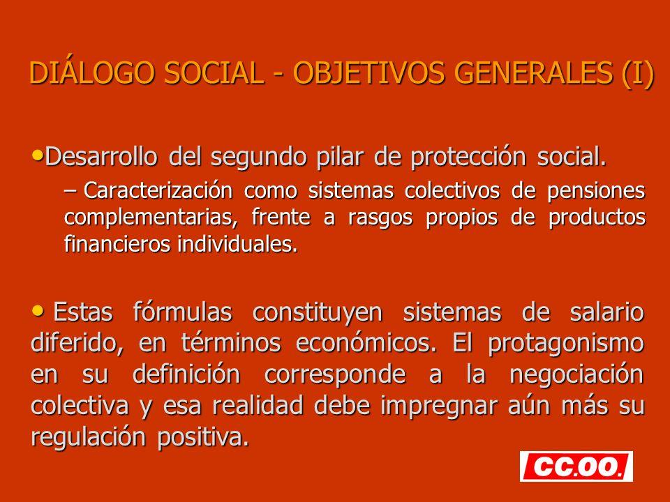 DIÁLOGO SOCIAL - OBJETIVOS GENERALES (I) Desarrollo del segundo pilar de protección social. Desarrollo del segundo pilar de protección social. – Carac