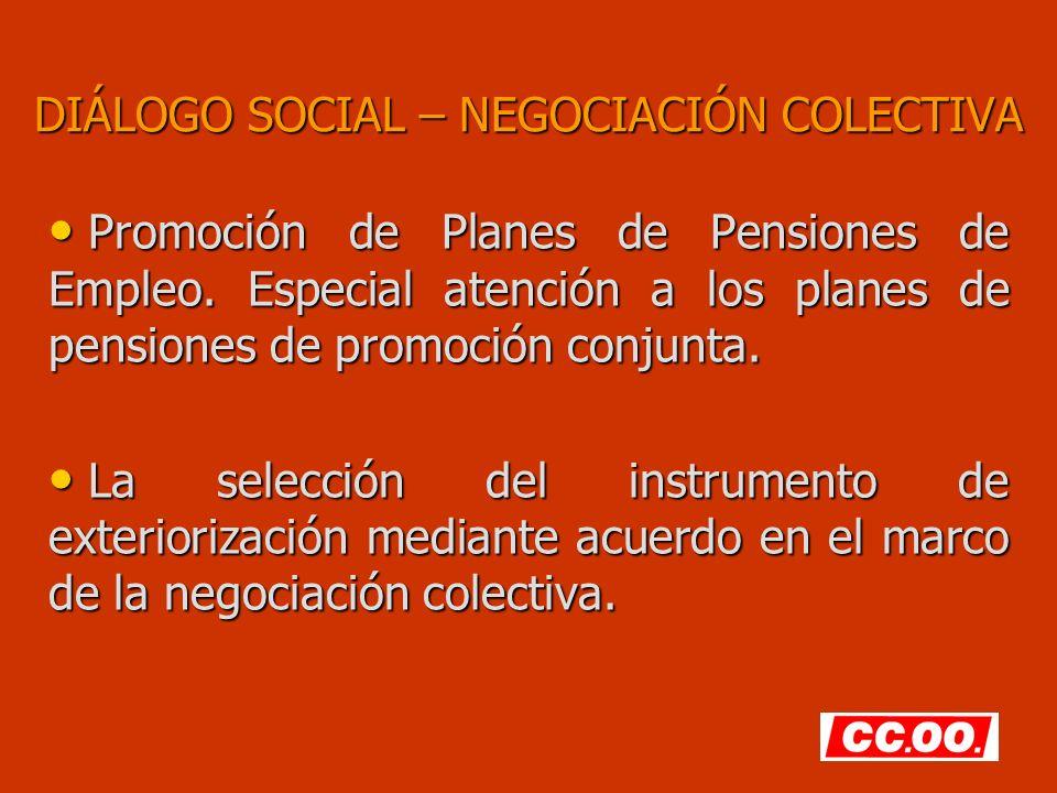 DIÁLOGO SOCIAL – NEGOCIACIÓN COLECTIVA Promoción de Planes de Pensiones de Empleo. Especial atención a los planes de pensiones de promoción conjunta.