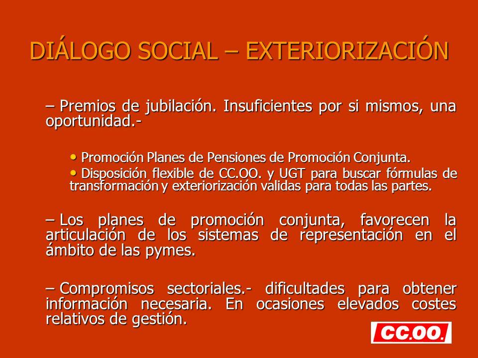 DIÁLOGO SOCIAL – EXTERIORIZACIÓN – Premios de jubilación. Insuficientes por si mismos, una oportunidad.- Promoción Planes de Pensiones de Promoción Co