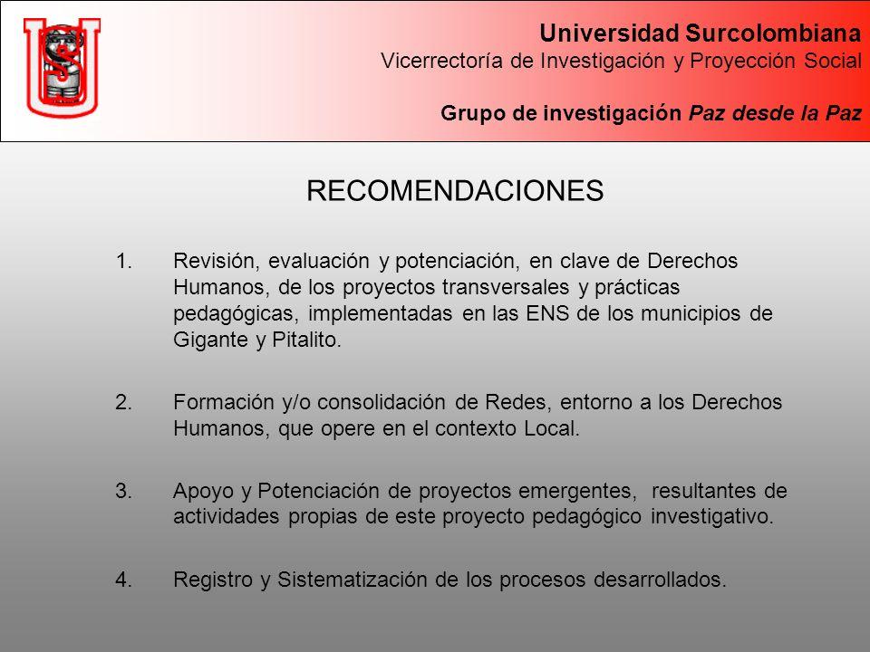 RECOMENDACIONES 1.Revisión, evaluación y potenciación, en clave de Derechos Humanos, de los proyectos transversales y prácticas pedagógicas, implementadas en las ENS de los municipios de Gigante y Pitalito.