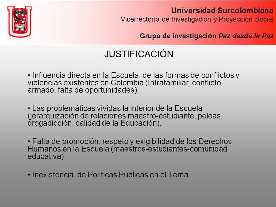 JUSTIFICACIÓN Influencia directa en la Escuela, de las formas de conflictos y violencias existentes en Colombia (Intrafamiliar, conflicto armado, falta de oportunidades).