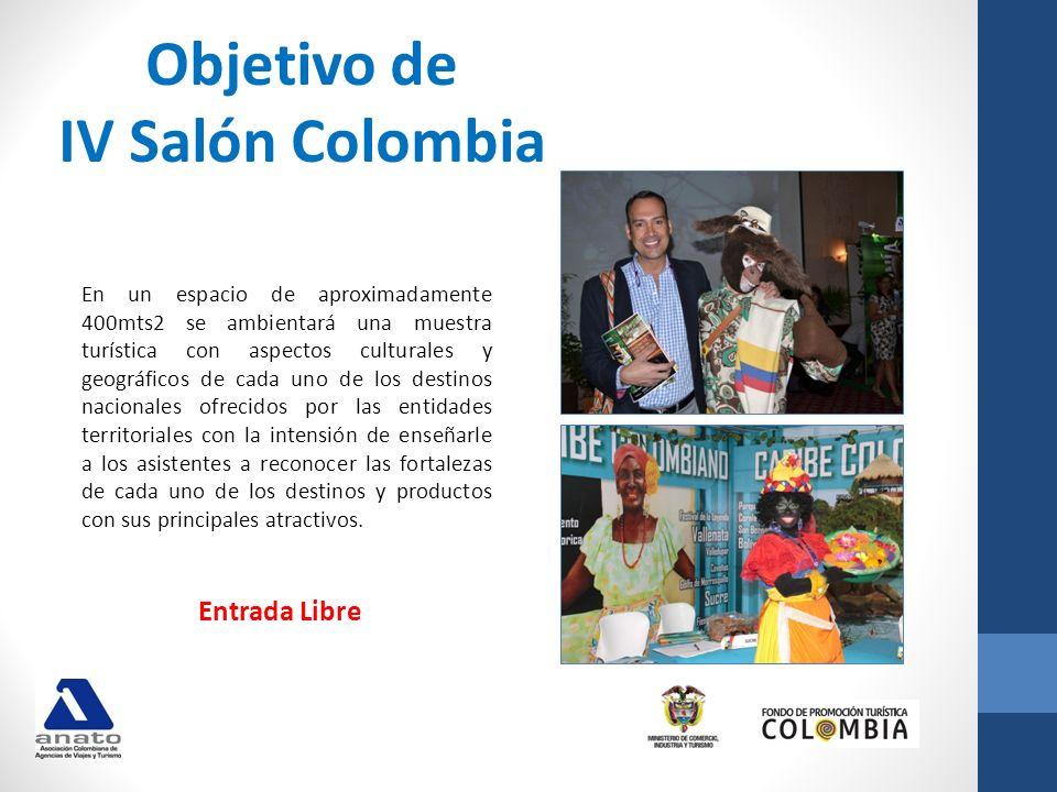 Objetivo de IV Salón Colombia En un espacio de aproximadamente 400mts2 se ambientará una muestra turística con aspectos culturales y geográficos de ca