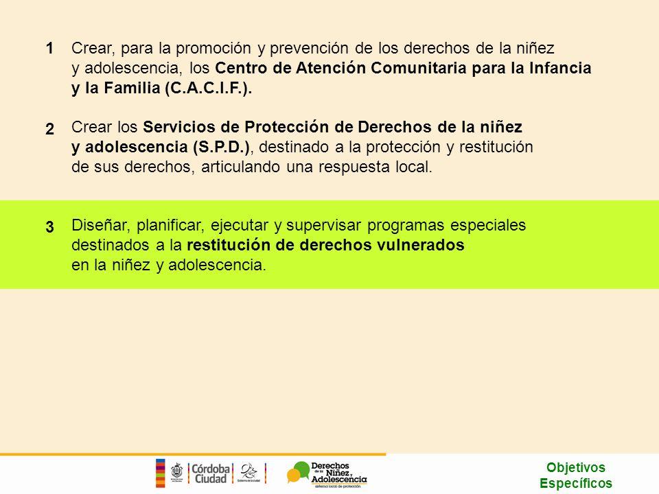 Crear, para la promoción y prevención de los derechos de la niñez y adolescencia, los Centro de Atención Comunitaria para la Infancia y la Familia (C.A.C.I.F.).