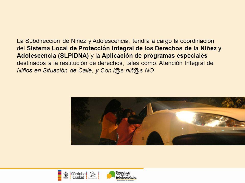 La Subdirección de Niñez y Adolescencia, tendrá a cargo la coordinación del Sistema Local de Protección Integral de los Derechos de la Niñez y Adolescencia (SLPIDNA) y la Aplicación de programas especiales destinados a la restitución de derechos, tales como: Atención Integral de Niños en Situación de Calle, y Con l@s niñ@s NO