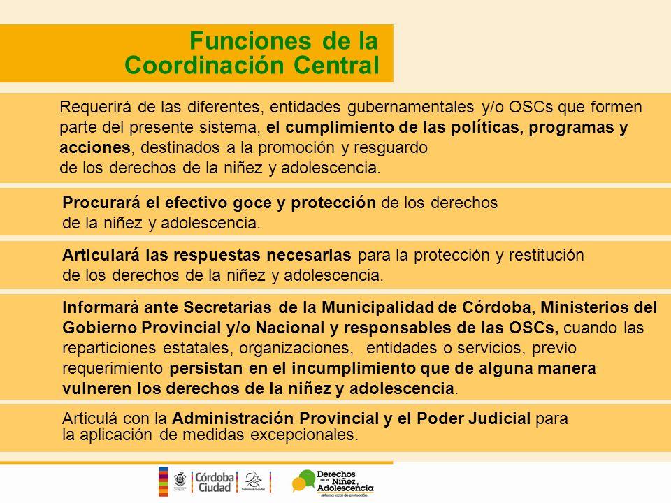 Funciones de la Coordinación Central Requerirá de las diferentes, entidades gubernamentales y/o OSCs que formen parte del presente sistema, el cumplimiento de las políticas, programas y acciones, destinados a la promoción y resguardo de los derechos de la niñez y adolescencia.