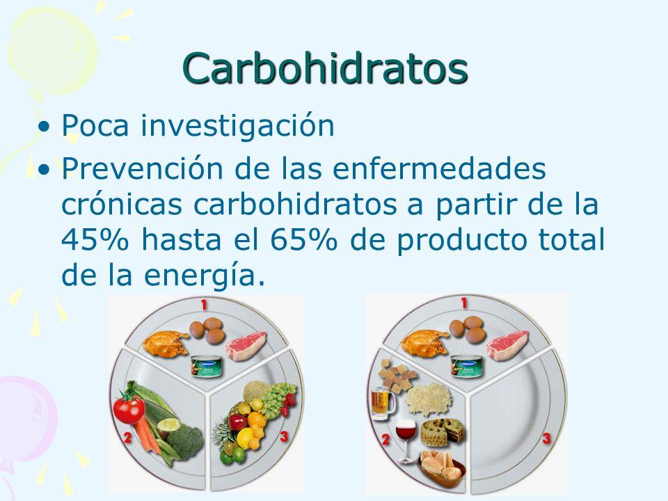 Carbohidratos Poca investigación Prevención de las enfermedades crónicas carbohidratos a partir de la 45% hasta el 65% de producto total de la energía