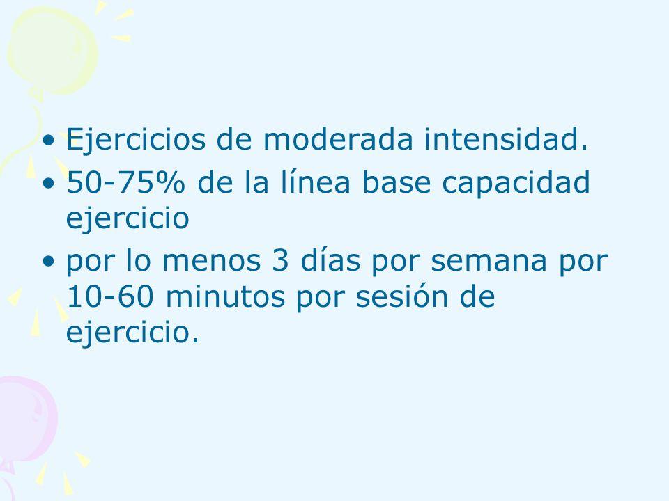 Ejercicios de moderada intensidad. 50-75% de la línea base capacidad ejercicio por lo menos 3 días por semana por 10-60 minutos por sesión de ejercici