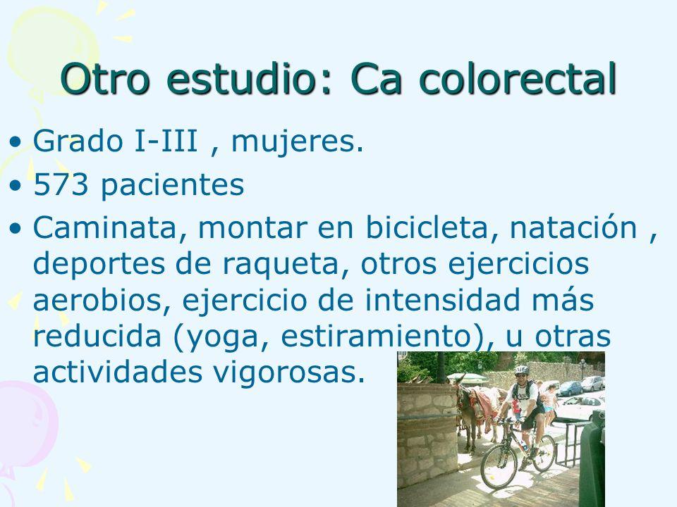 Otro estudio: Ca colorectal Grado I-III, mujeres. 573 pacientes Caminata, montar en bicicleta, natación, deportes de raqueta, otros ejercicios aerobio