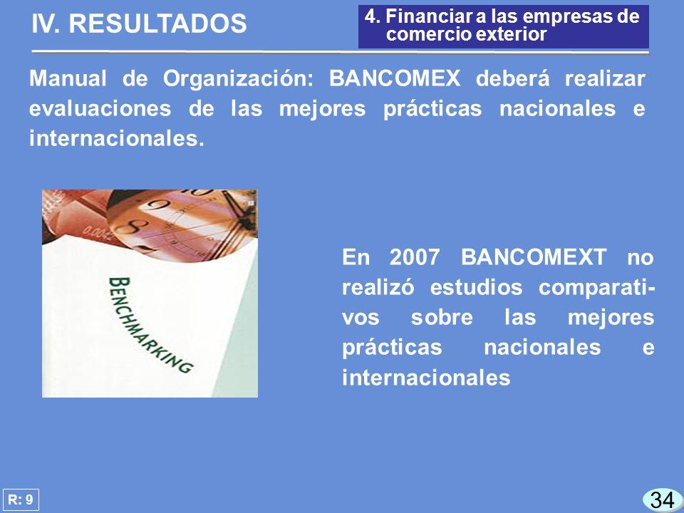 34 En 2007 BANCOMEXT no realizó estudios comparati- vos sobre las mejores prácticas nacionales e internacionales R: 9 4.