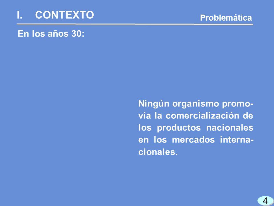 4 4 En los años 30: I.CONTEXTO Problemática Ningún organismo promo- vía la comercialización de los productos nacionales en los mercados interna- cionales.