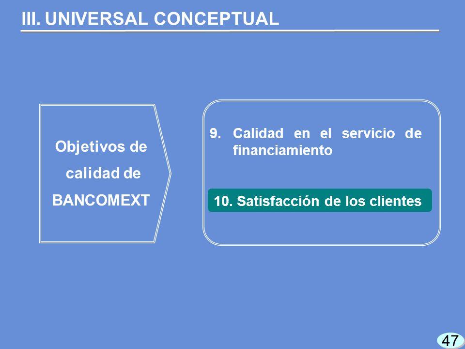 47 9.Calidad en el servicio de financiamiento Objetivos de calidad de BANCOMEXT III.UNIVERSAL CONCEPTUAL 10.Satisfacción de los clientes