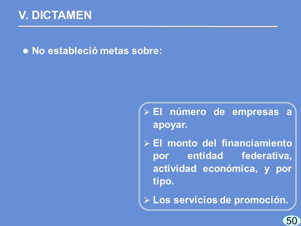 50 No estableció metas sobre: V. DICTAMEN El número de empresas a apoyar.