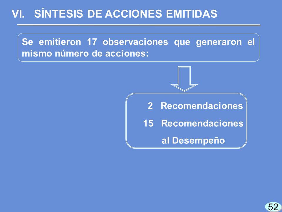 52 Se emitieron 17 observaciones que generaron el mismo número de acciones: VI.