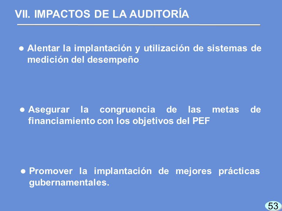53 Alentar la implantación y utilización de sistemas de medición del desempeño VII.