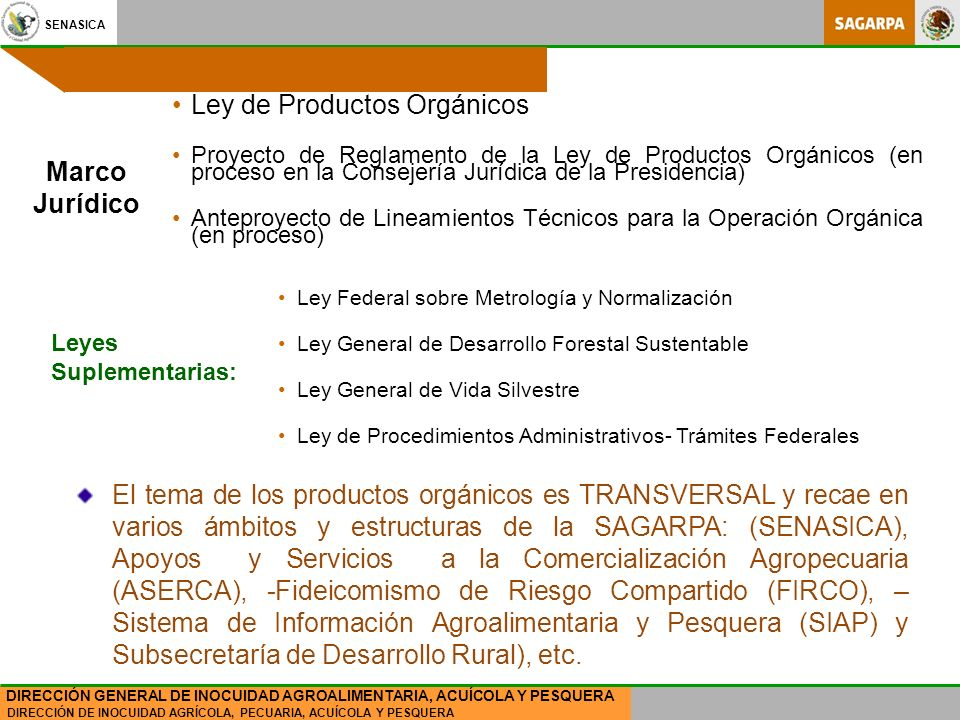 SENASICA DIRECCIÓN DE INOCUIDAD AGRÍCOLA, PECUARIA, ACUÍCOLA Y PESQUERA DIRECCIÓN GENERAL DE INOCUIDAD AGROALIMENTARIA, ACUÍCOLA Y PESQUERA Marco Jurídico Ley de Productos Orgánicos Proyecto de Reglamento de la Ley de Productos Orgánicos (en proceso en la Consejería Jurídica de la Presidencia) Anteproyecto de Lineamientos Técnicos para la Operación Orgánica (en proceso) Ley Federal sobre Metrología y Normalización Ley General de Desarrollo Forestal Sustentable Ley General de Vida Silvestre Ley de Procedimientos Administrativos- Trámites Federales Leyes Suplementarias: El tema de los productos orgánicos es TRANSVERSAL y recae en varios ámbitos y estructuras de la SAGARPA: (SENASICA), Apoyos y Servicios a la Comercialización Agropecuaria (ASERCA), -Fideicomismo de Riesgo Compartido (FIRCO), – Sistema de Información Agroalimentaria y Pesquera (SIAP) y Subsecretaría de Desarrollo Rural), etc.