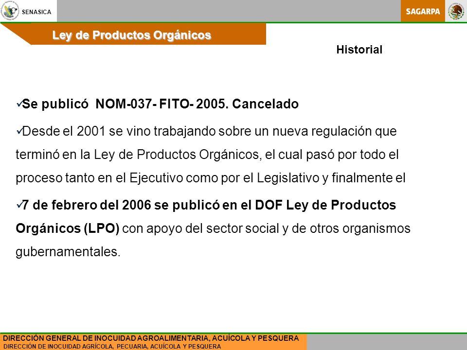 SENASICA DIRECCIÓN DE INOCUIDAD AGRÍCOLA, PECUARIA, ACUÍCOLA Y PESQUERA DIRECCIÓN GENERAL DE INOCUIDAD AGROALIMENTARIA, ACUÍCOLA Y PESQUERA Ley de Productos Orgánicos Se publicó NOM-037- FITO- 2005.