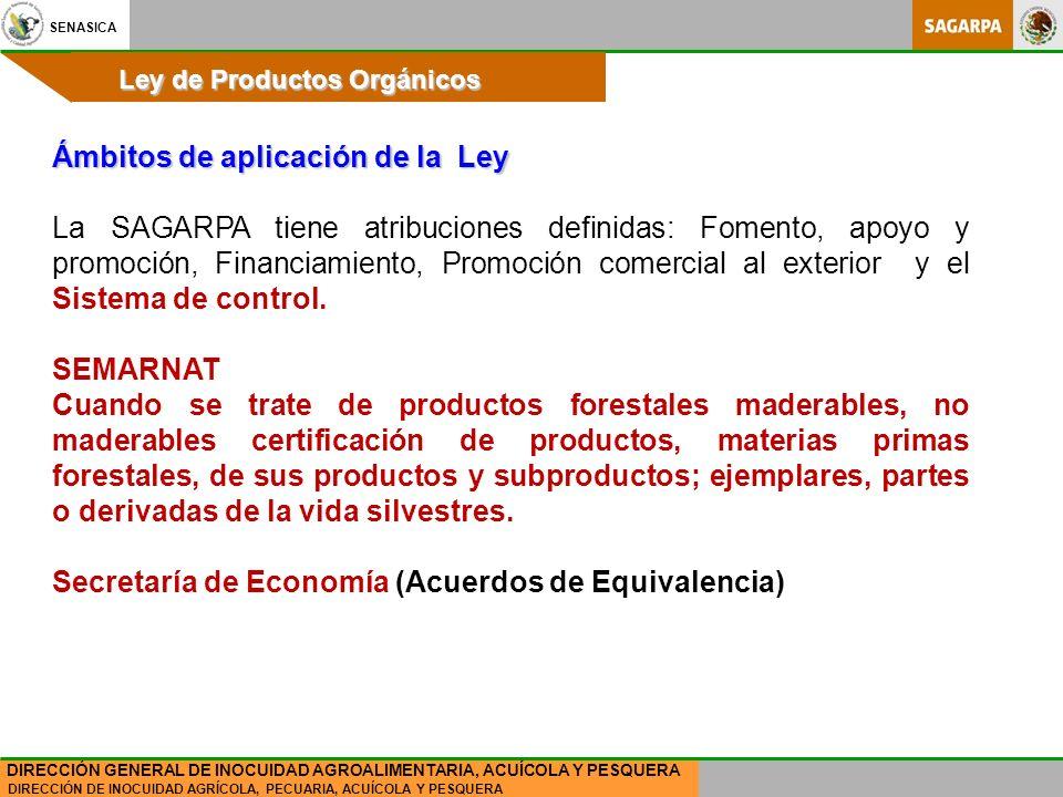SENASICA DIRECCIÓN DE INOCUIDAD AGRÍCOLA, PECUARIA, ACUÍCOLA Y PESQUERA DIRECCIÓN GENERAL DE INOCUIDAD AGROALIMENTARIA, ACUÍCOLA Y PESQUERA Ley de Productos Orgánicos Ámbitos de aplicación de la Ley La SAGARPA tiene atribuciones definidas: Fomento, apoyo y promoción, Financiamiento, Promoción comercial al exterior y el Sistema de control.