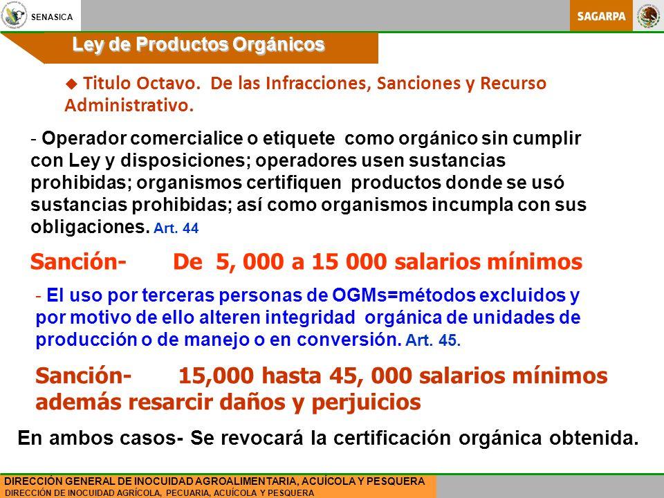 SENASICA DIRECCIÓN DE INOCUIDAD AGRÍCOLA, PECUARIA, ACUÍCOLA Y PESQUERA DIRECCIÓN GENERAL DE INOCUIDAD AGROALIMENTARIA, ACUÍCOLA Y PESQUERA Ley de Productos Orgánicos - Operador comercialice o etiquete como orgánico sin cumplir con Ley y disposiciones; operadores usen sustancias prohibidas; organismos certifiquen productos donde se usó sustancias prohibidas; así como organismos incumpla con sus obligaciones.