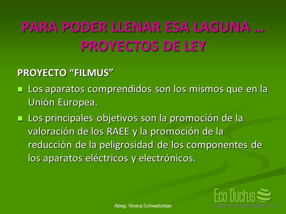Abog. Yesica Schvartzman PARA PODER LLENAR ESA LAGUNA … PROYECTOS DE LEY PROYECTO FILMUS Los aparatos comprendidos son los mismos que en la Unión Euro