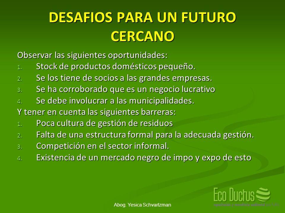 Abog. Yesica Schvartzman DESAFIOS PARA UN FUTURO CERCANO Observar las siguientes oportunidades: 1. Stock de productos domésticos pequeño. 2. Se los ti