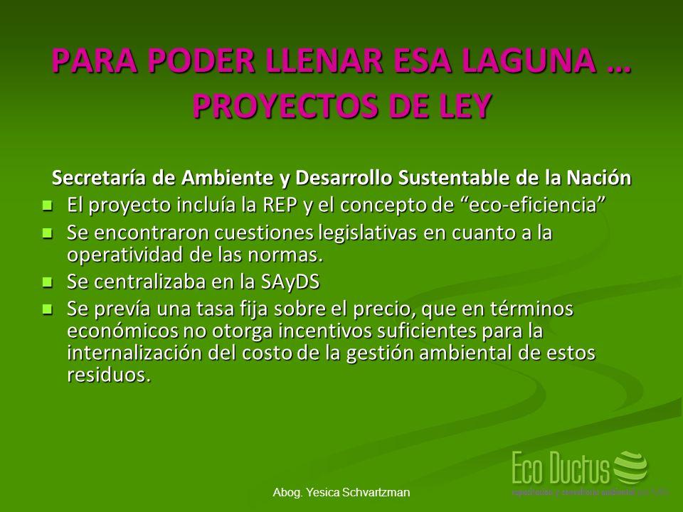 Abog. Yesica Schvartzman PARA PODER LLENAR ESA LAGUNA … PROYECTOS DE LEY Secretaría de Ambiente y Desarrollo Sustentable de la Nación El proyecto incl