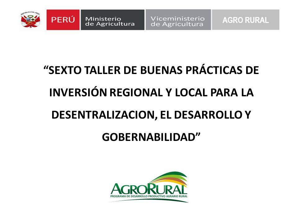 SEXTO TALLER DE BUENAS PRÁCTICAS DE INVERSIÓN REGIONAL Y LOCAL PARA LA DESENTRALIZACION, EL DESARROLLO Y GOBERNABILIDAD Programas Sociales y alianzas estratégicas con Fondos Mineros AGRO RURAL Expositor: Dr.