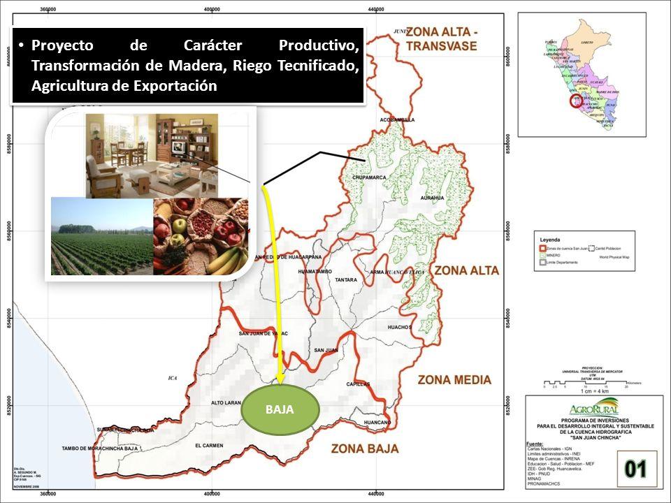 BAJA Proyecto de Carácter Productivo, Transformación de Madera, Riego Tecnificado, Agricultura de Exportación