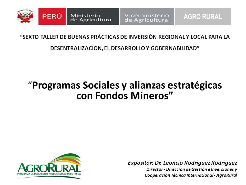 AGRO RURAL Experiencia de AgroRural con Programas Sociales y alianzas estratégicas con Fondos Mineros